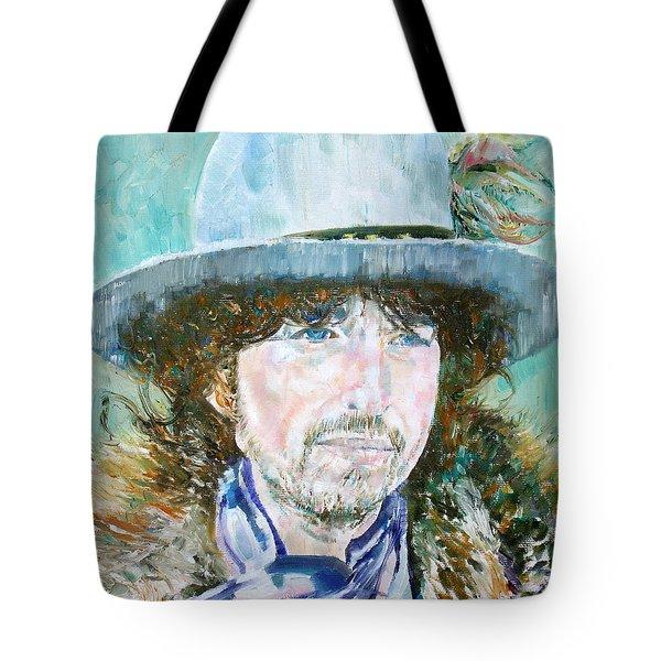 Bob Dylan Oil Portrait Tote Bag by Fabrizio Cassetta