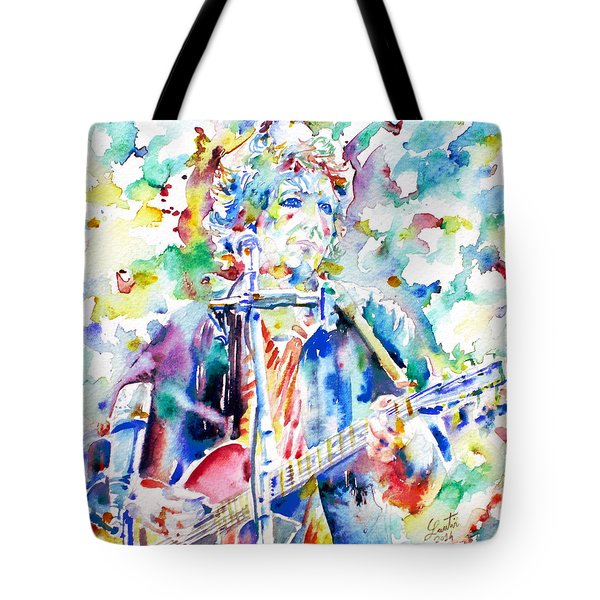 Bob Dylan Playing The Guitar - Watercolor Portrait.1 Tote Bag by Fabrizio Cassetta