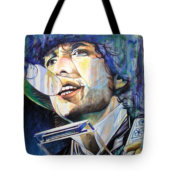 Bob Dylan Tangled Up In Blue Tote Bag by Joshua Morton