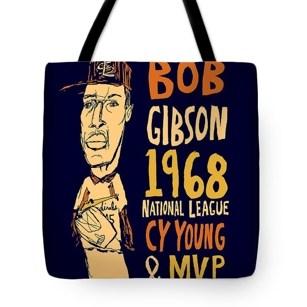 Bob Gibson St Louis Cardinals Tote Bag by Jay Perkins
