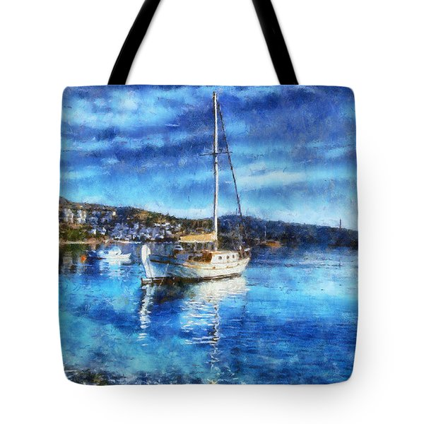 Bodrum Bay In Turkey Tote Bag by Lilia D