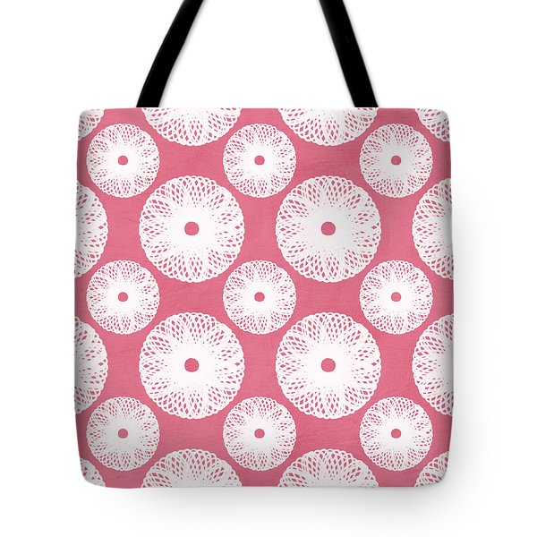 Boho Floral Pattern In Pink And White Tote Bag by Linda Woods
