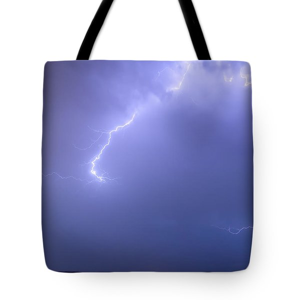 Bolts Of Lightning Arcing Through The Night Sky Tote Bag by James BO  Insogna