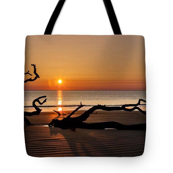 Bones Beach Sunrise Tote Bag by Debra and Dave Vanderlaan