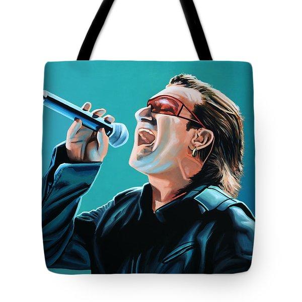 Bono Of U2 Painting Tote Bag by Paul Meijering