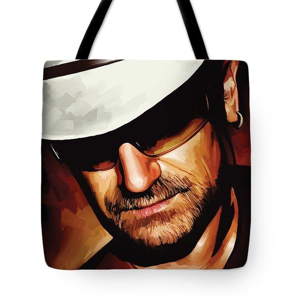 Bono U2 Artwork 3 Tote Bag by Sheraz A