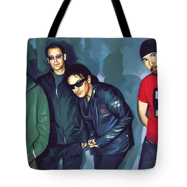 Bono U2 Artwork 5 Tote Bag by Sheraz A