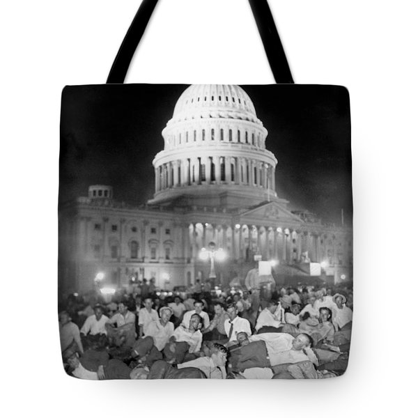 Bonus Army Sleeps At Capitol Tote Bag by Underwood Archives