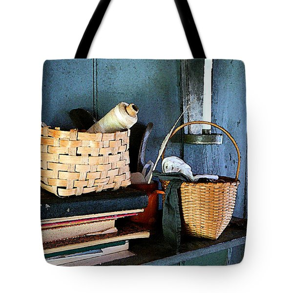 Books And Baskets Tote Bag by Susan Savad