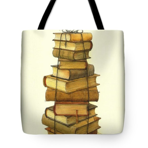 Books And Little Bird Tote Bag by Kestutis Kasparavicius