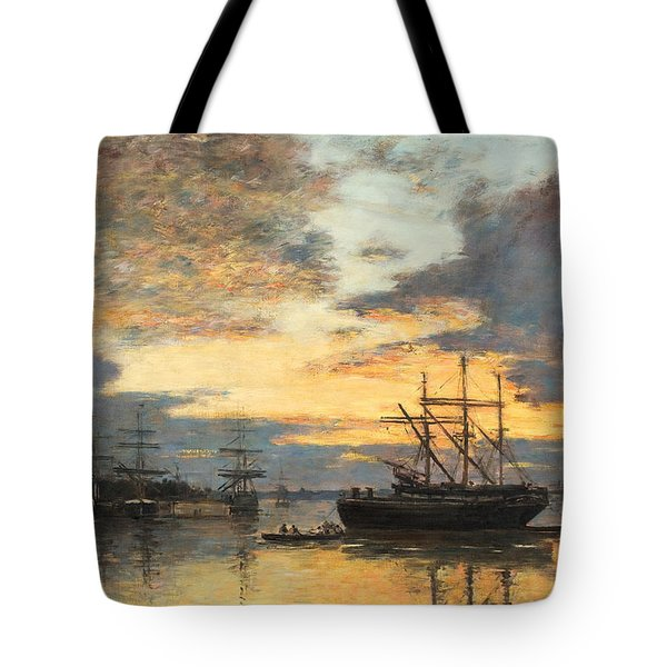 Bordeaux In The Harbor Tote Bag by Eugene Louis Boudin