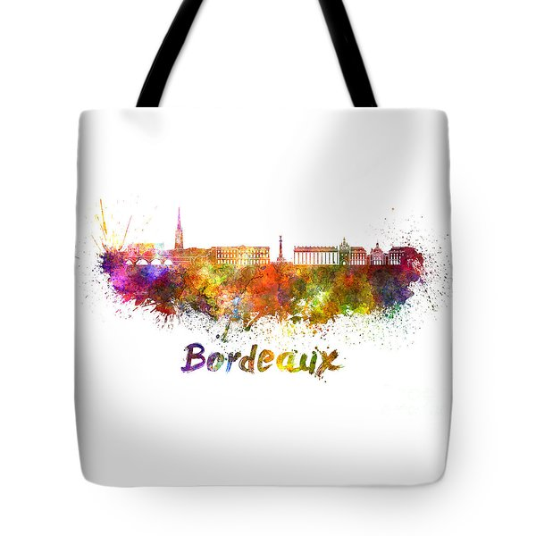 Bordeaux Skyline In Watercolor Tote Bag by Pablo Romero
