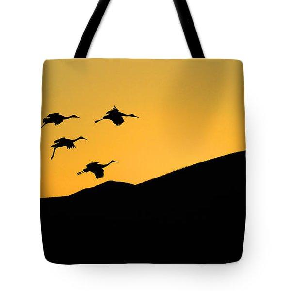 Bosque Del Apache Last Light Tote Bag by Bob Christopher