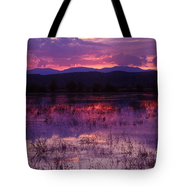 Bosque Sunset - Purple Tote Bag by Steven Ralser