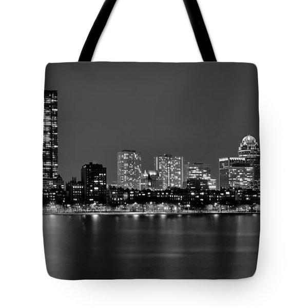 Boston Back Bay Skyline at Night Black and White BW Panorama Tote Bag by Jon Holiday
