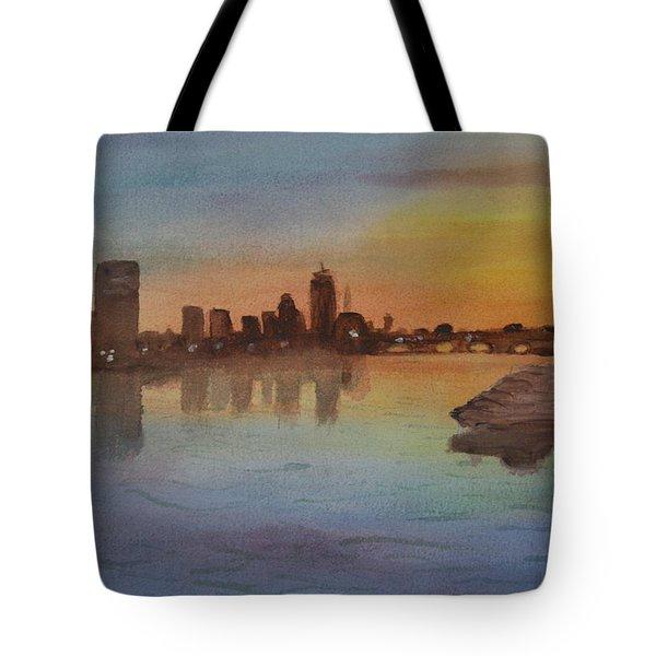 Boston Charles River At Sunset  Tote Bag by Donna Walsh