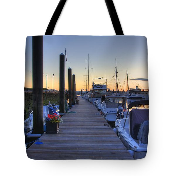 Boston Dock Sunrise Tote Bag by Joann Vitali