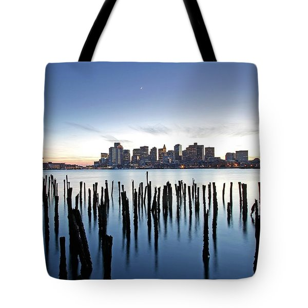 Boston Harbor Skyline with ICA Tote Bag by Juergen Roth