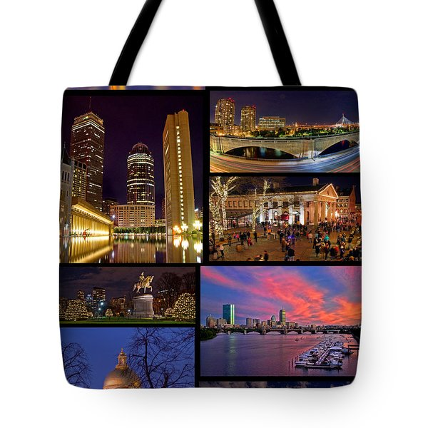 Boston Nights Collage Tote Bag by Joann Vitali