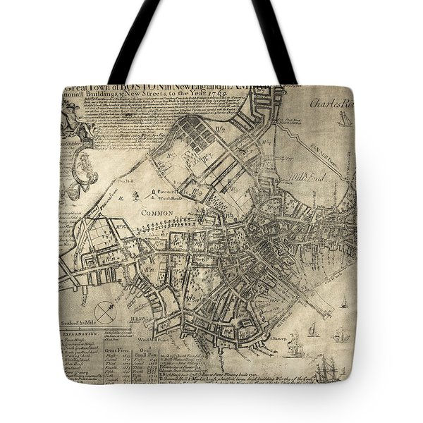BOSTON of BRITISH DOMINION MAP  1769 Tote Bag by Daniel Hagerman