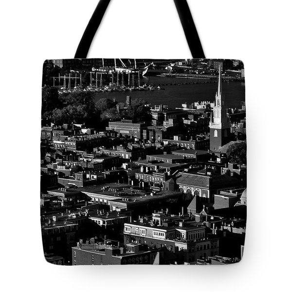 Boston Old North Church Black And White Tote Bag by Benjamin Yeager