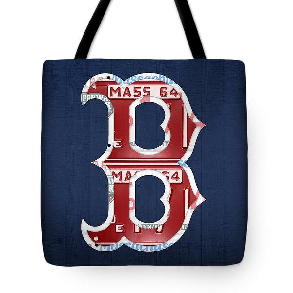 Boston Red Sox Logo Letter B Baseball Team Vintage License Plate Art Tote Bag by Design Turnpike