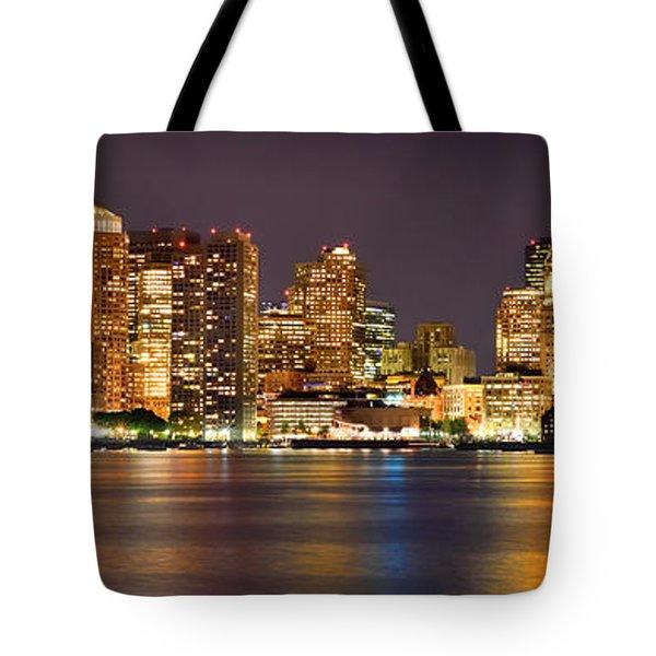Boston Skyline at NIGHT Panorama Tote Bag by Jon Holiday