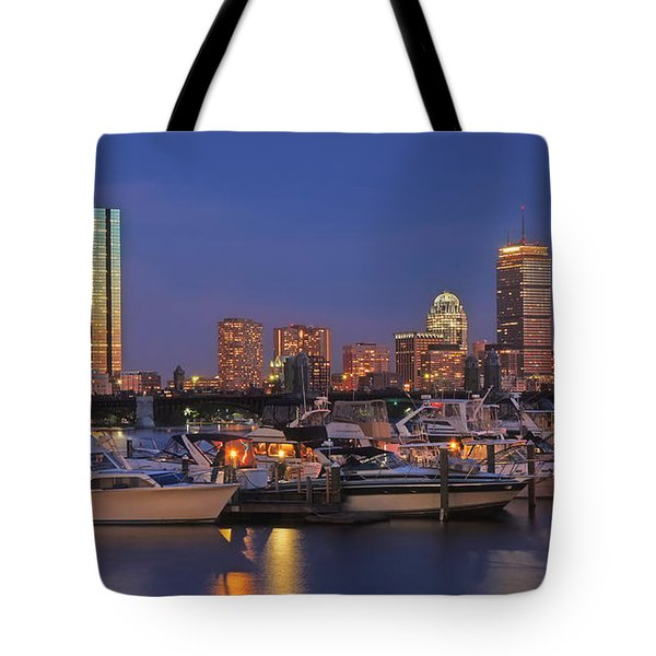Boston Skyline In Blue And Gold Tote Bag by Joann Vitali
