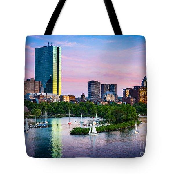 Boston Skyline Tote Bag by Inge Johnsson