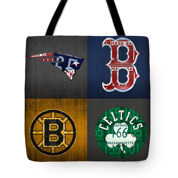 Boston Sports Fan Recycled Vintage Massachusetts License Plate Art Patriots Red Sox Bruins Celtics Tote Bag by Design Turnpike