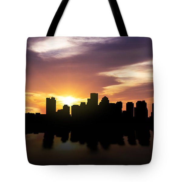 Boston Sunset Skyline  Tote Bag by Aged Pixel