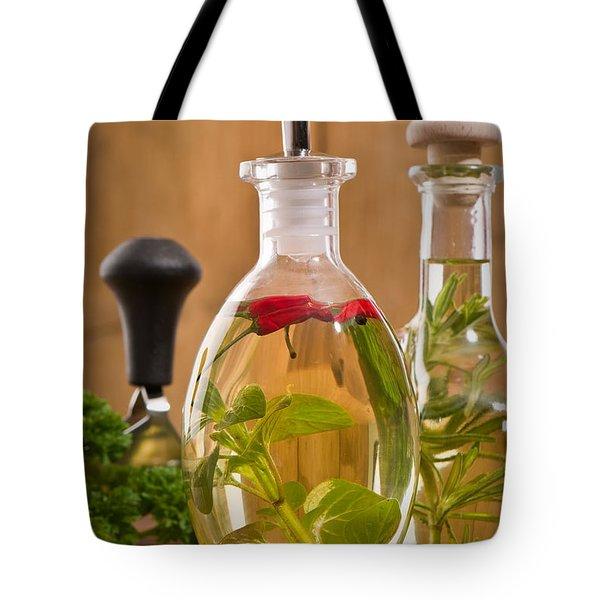 Bottles Of Olive Oil Tote Bag by Amanda Elwell