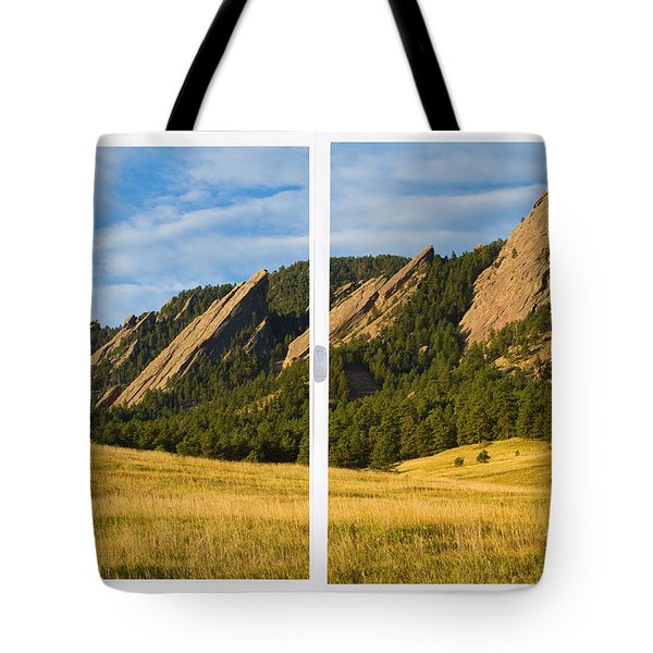 Boulder Colorado Flatirons White Window Frame Scenic View Tote Bag by James BO  Insogna