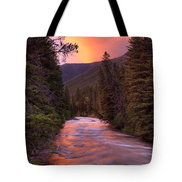 Boulder River Sunset Tote Bag by Leland D Howard