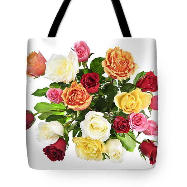 Bouquet Of Roses From Above Tote Bag by Elena Elisseeva