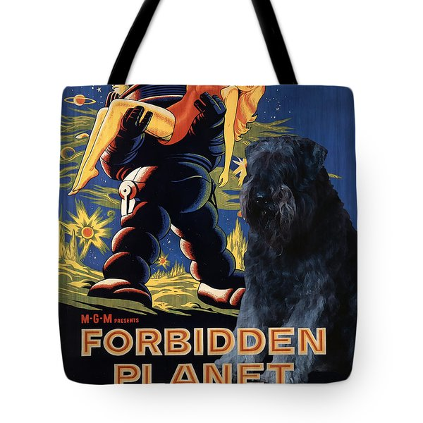 Bouvier Des Flandres - Flanders Cattle Dog Art Canvas Print - Forbidden Planet Movie Poster Tote Bag by Sandra Sij