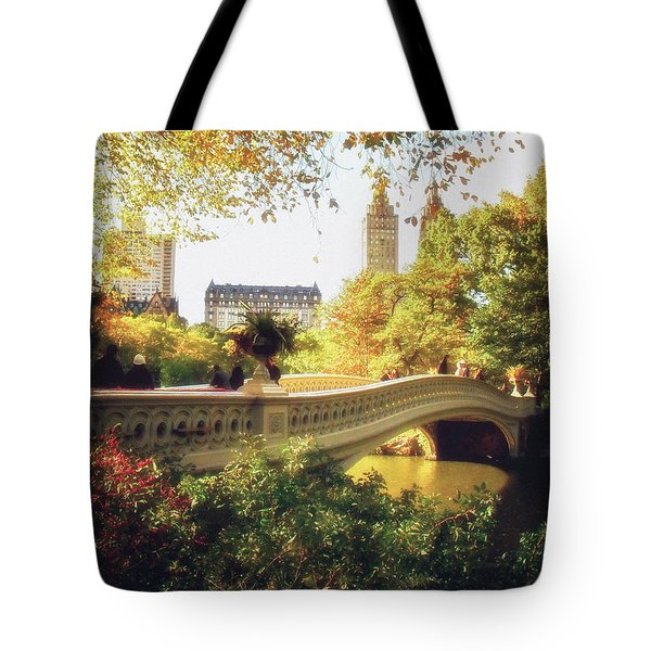 Bow Bridge - Autumn - Central Park Tote Bag by Vivienne Gucwa