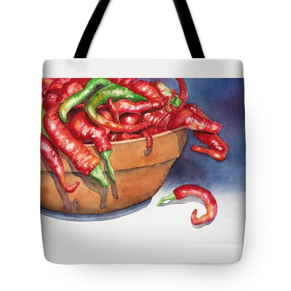 Bowl Of Red Hot Chili Peppers Tote Bag by Lyn DeLano