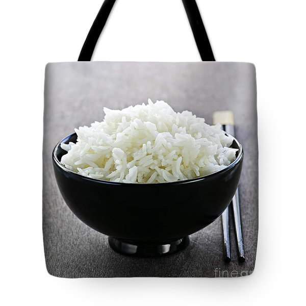 Bowl of rice with chopsticks Tote Bag by Elena Elisseeva