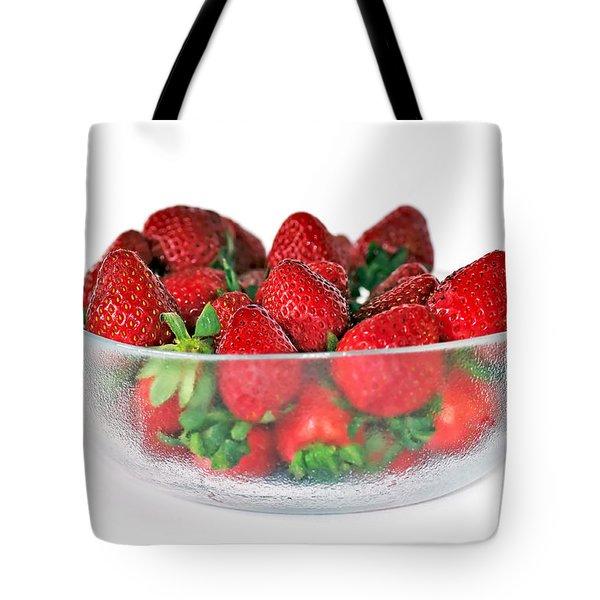 Bowl Of Strawberries Tote Bag by Kaye Menner