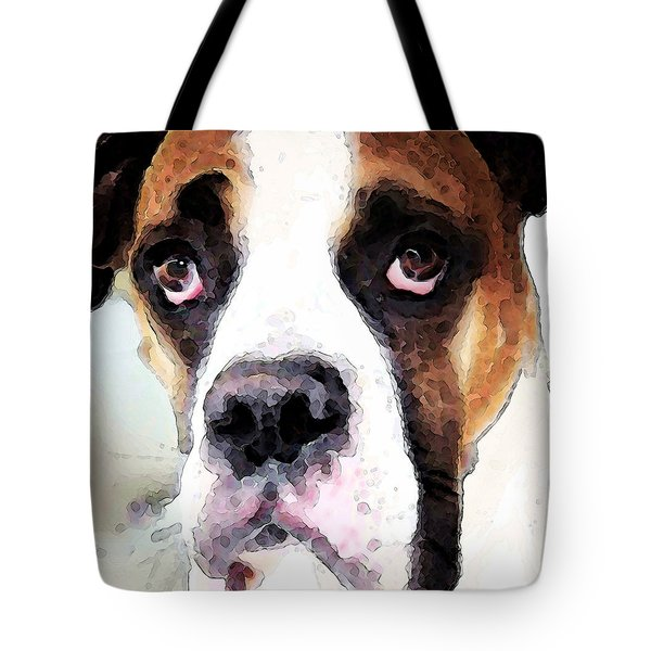 Boxer Art - Sad Eyes Tote Bag by Sharon Cummings