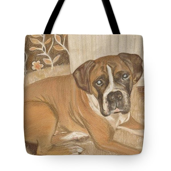 Boxer Dog George Tote Bag by Faye Giblin