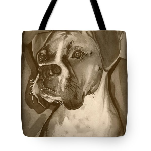 Boxer Dog Sepia Print Tote Bag by Robyn Saunders