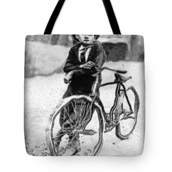 Boy And Bicycle Tote Bag by George Rossidis