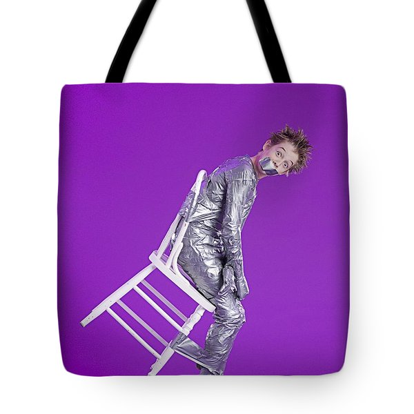 Boy Bound By Duct Tape Tote Bag by Ron Nickel