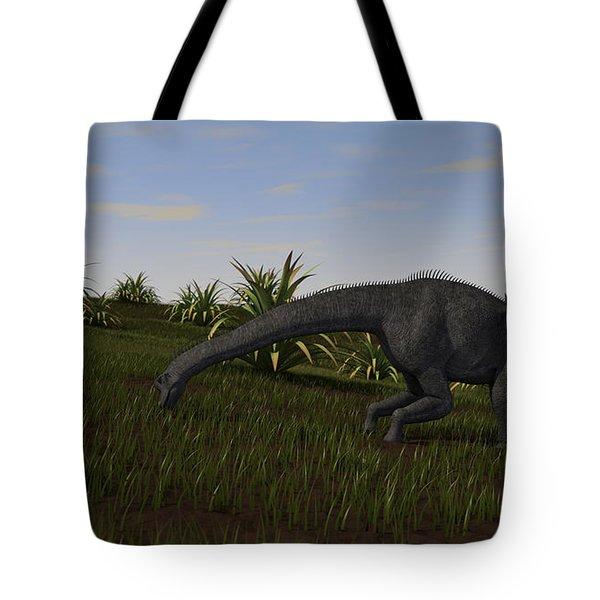 Brachiosaurus Grazing In A Grassy Field Tote Bag by Kostyantyn Ivanyshen