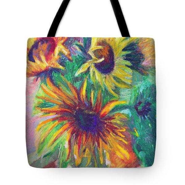 Brandy's Sunflowers - Still Life On Windowsill Tote Bag by Talya Johnson