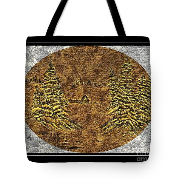 Brass-type Etching - Oval - Cabin Between The Trees Tote Bag by Barbara Griffin
