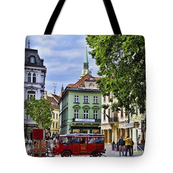 Bratislava Town Square Tote Bag by Jon Berghoff