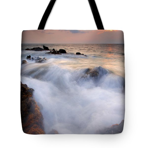 Break In The Storm Tote Bag by Mike  Dawson